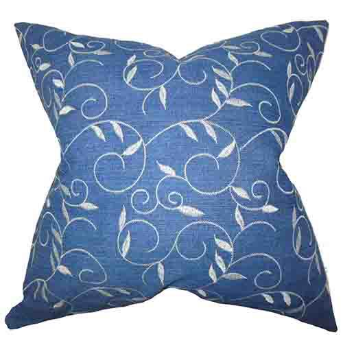 The Pillow Collection Abihail Blue 18 x 18 Floral Throw Pillow