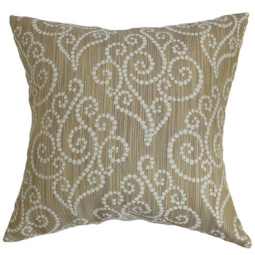 The Pillow Collection Cienne Brown 18 x 18 Swirls Throw Pillow