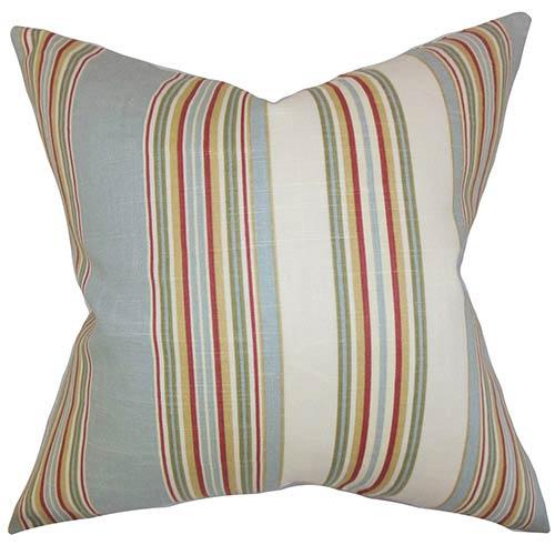 The Pillow Collection Florrie Blue 18 x 18 Stripes Throw Pillow