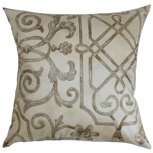 Basia Neutral 18 x 18 Geometric Throw Pillow