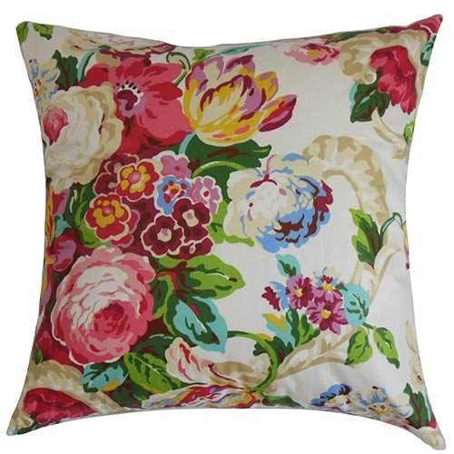 The Pillow Collection Khorsed Pink 18 x 18 Floral Throw Pillow