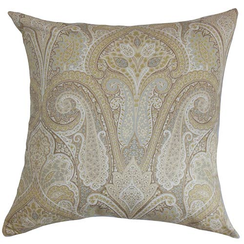 The Pillow Collection Zafrian Brown 18 x 18 Paisley Throw Pillow