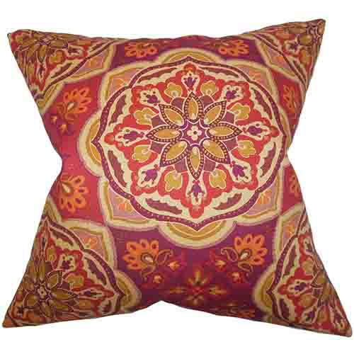 Luana Purple 18 x 18 Floral Throw Pillow