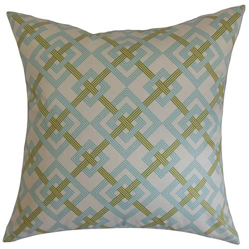 The Pillow Collection Fimbrethil Turquoise and Green 18 x 18 Geometric Throw Pillow