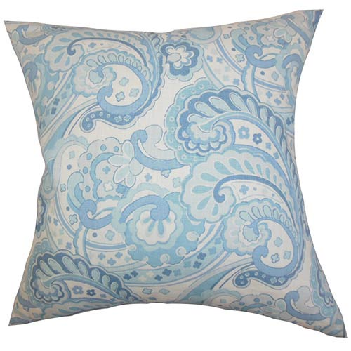 The Pillow Collection Iphigenia Blue 18 x 18 Floral Throw Pillow