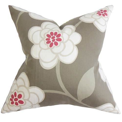The Pillow Collection Junot Gray 18 x 18 Floral Throw Pillow