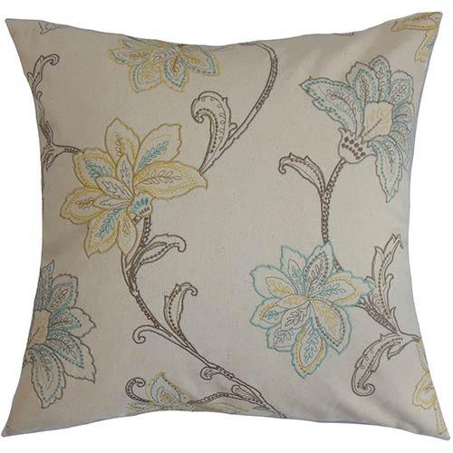 Eimear Neutral 18 x 18 Floral Throw Pillow