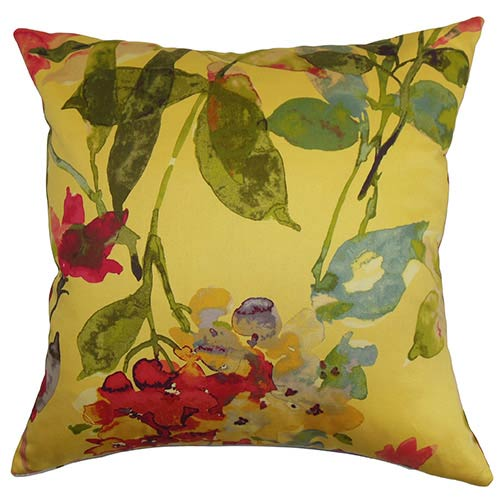 The Pillow Collection Naryany Yellow 18 x 18 Floral Throw Pillow