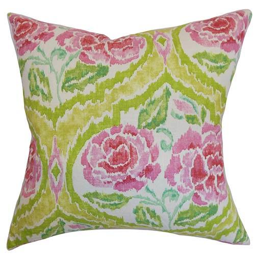 The Pillow Collection Feidra Orange 18 x 18 Floral Throw Pillow