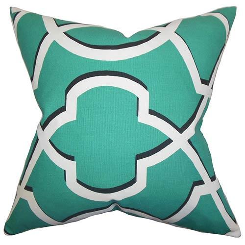 The Pillow Collection Curan Green 18 x 18 Geometric Throw Pillow