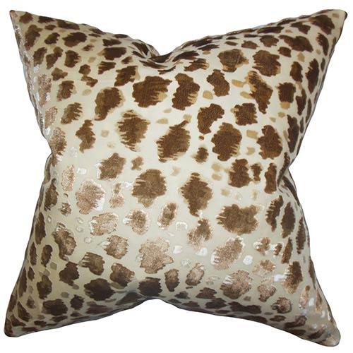 Hepzibah Brown 18 x 18 Animal Print Throw Pillow