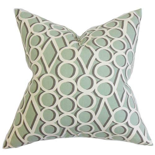The Pillow Collection Blaise Green 18 x 18 Geometric Throw Pillow