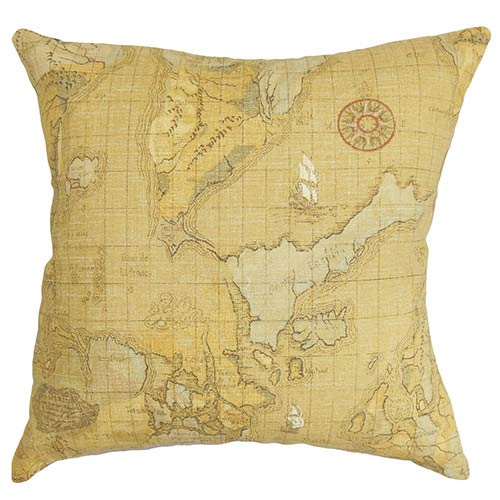 The Pillow Collection Fuijta Brown 18 x 18 Map Throw Pillow