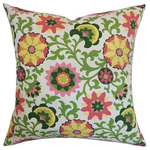 The Pillow Collection Meriadoc Pink 18 x 18 Floral Throw Pillow