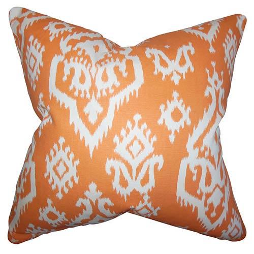 Ife Orange 18 x 18 Ikat Throw Pillow