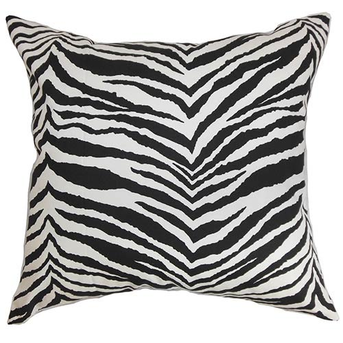 Cecania Black and White 18 x 18 Zebra Print Throw Pillow