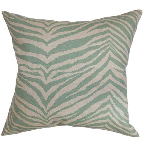 Cecania Blue Linen 18 x 18 Animal Throw Pillow