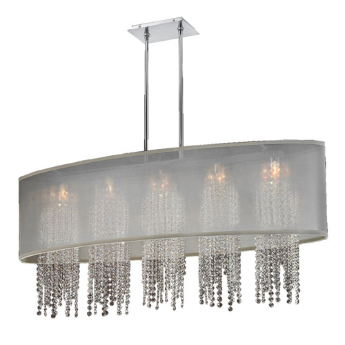 GLOW Lighting Soho Crystal, Silver and Taupe 45-Inch Five-Light Linear Pendant