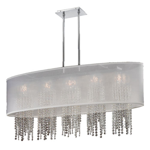 GLOW Lighting Soho Crystal, Silver and White 45-Inch Five-Light Linear Pendant