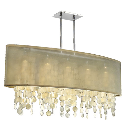GLOW Lighting Soho Capiz, Silver and Taupe 45-Inch Five-Light Linear Pendant