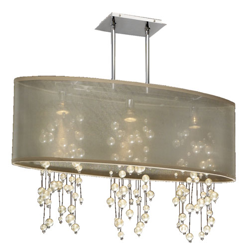 GLOW Lighting Soho Pearl and Crystal, Silver and Taupe 33-Inch Three-Light Linear Pendant