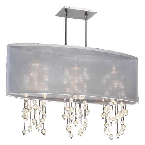 GLOW Lighting Soho Pearl and Crystal, Silver and White 33-Inch Three-Light Linear Pendant