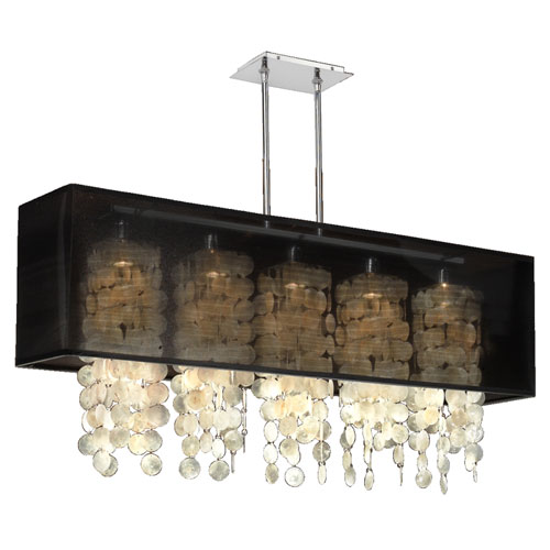 GLOW Lighting Omni Capiz, Silver and Black 44-Inch Five-Light Linear Pendant