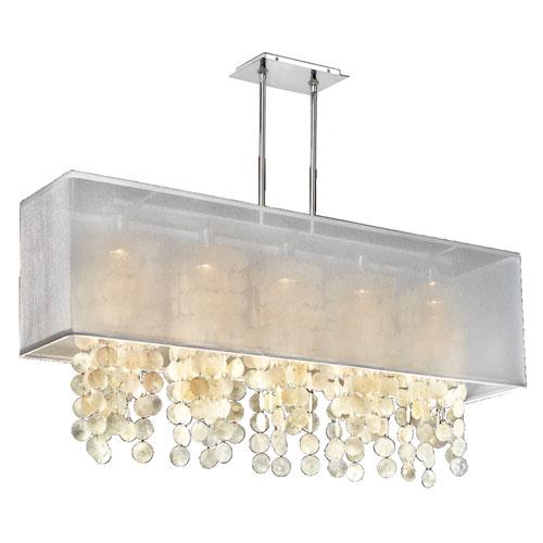 GLOW Lighting Omni Capiz, Silver and White 44-Inch Five-Light Linear Pendant