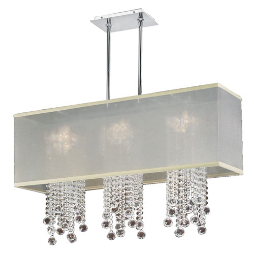 Omni Crystal, Silver and Taupe 33-Inch Three-Light Linear Pendant