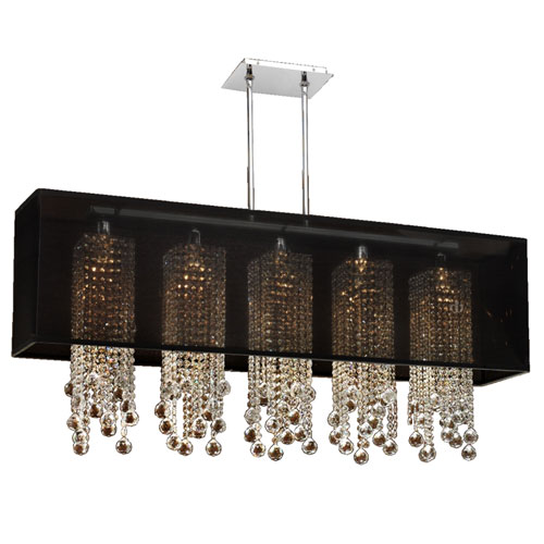 GLOW Lighting Omni Crystal, Silver and Black 44-Inch Five-Light Linear Pendant