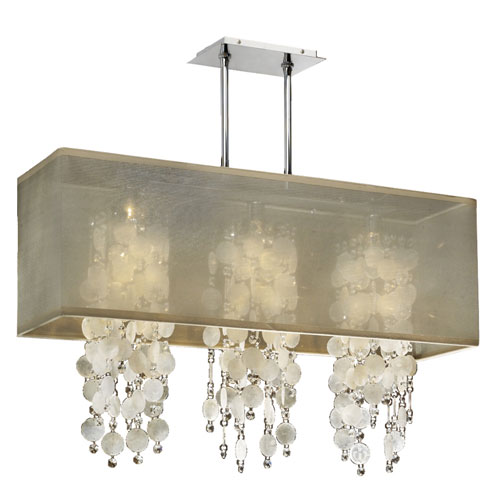 GLOW Lighting Omni Capiz and Crystal, Silver and Taupe 33-Inch Three-Light Linear Pendant