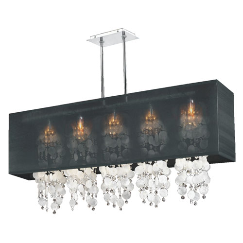 GLOW Lighting Omni Capiz and Crystal, Silver and Black 44-Inch Five-Light Linear Pendant