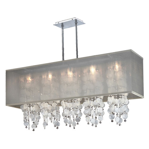 GLOW Lighting Omni Capiz and Crystal, Silver and Taupe 44-Inch Five-Light Linear Pendant