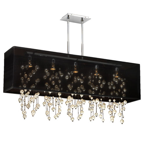 GLOW Lighting Omni Pearl and Crystal, Silver and Black 44-Inch Five-Light Linear Pendant