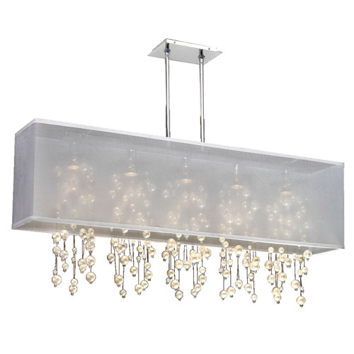 GLOW Lighting Omni Pearl and Crystal, Silver and White 44-Inch Five-Light Linear Pendant