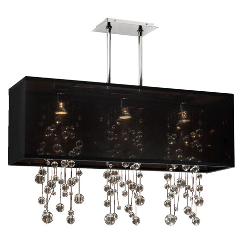 Omni Crystal, Silver and Black 33-Inch Three-Light Linear Pendant