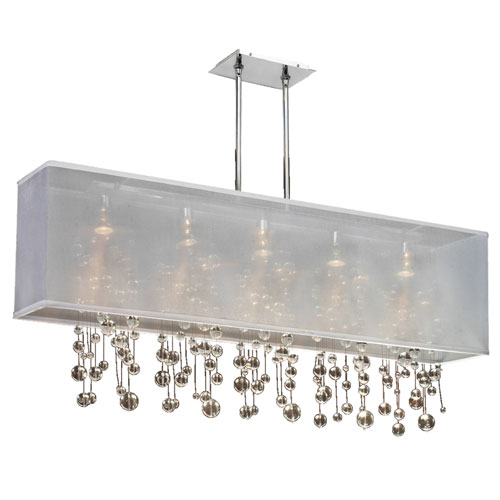 GLOW Lighting Omni Crystal, Silver and White 44-Inch Five-Light Linear Pendant