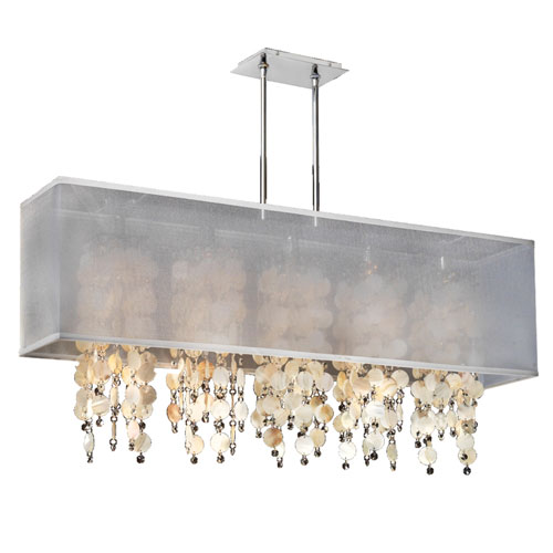 Omni Silver Pearl 44-Inch Five-Light Linear Pendant with Oyster Shell and Crystal