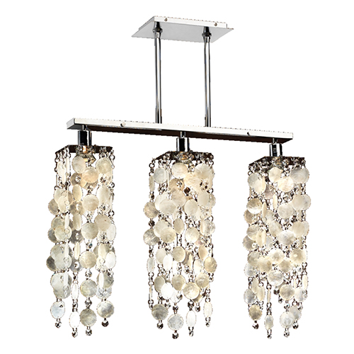 Chelsea Silver Pearl Three-Light White Chandelier with Capiz Shell