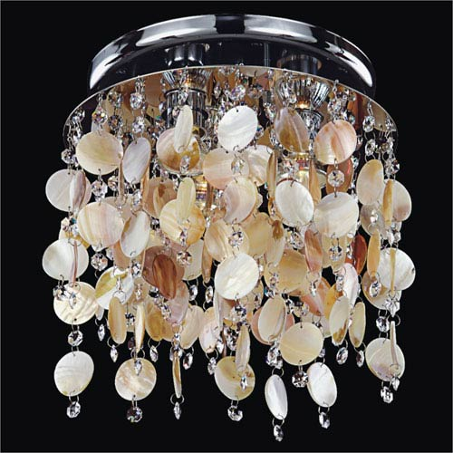 Seaside Dreams 3 Light Flush Mount with Seashell and Crystal