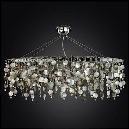 GLOW Lighting Midnight Pearl Five Light Chandelier with Mother of Pearl Shell and Crystal