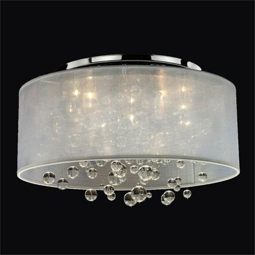 GLOW Lighting Silhouette White and Chrome Four-Light Flush Mount