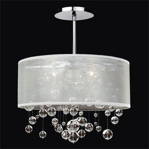 Silhouette Crystal Three Light Pendant with Double Lined Sheer Shade