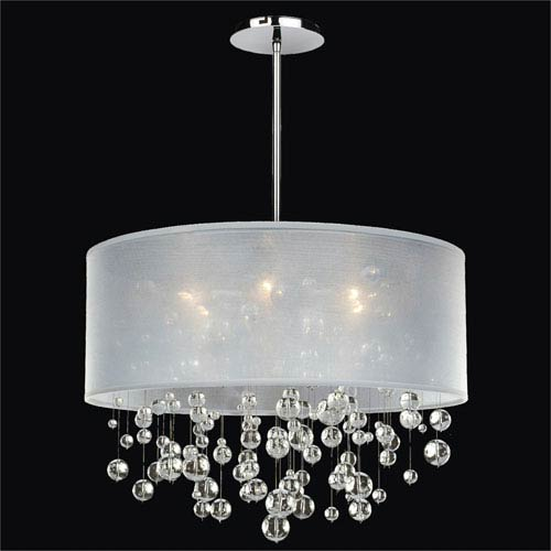Silhouette Crystal Six Light Pendant with Double Lined Sheer Shade