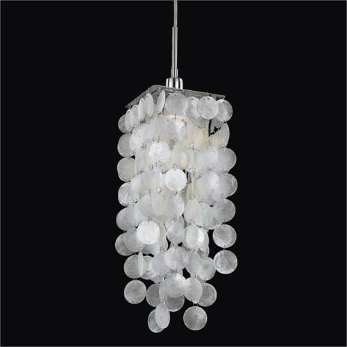 GLOW Lighting Cityscape Capiz Shell and Chrome One-Light Mini Pendant