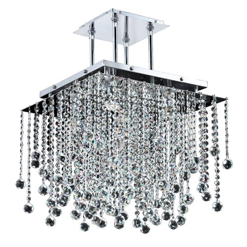 GLOW Lighting Cityscape Chrome 18-Inch Five-Light Chandelier with Faceted Crystal Ball