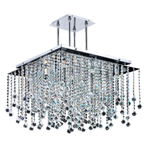 GLOW Lighting Cityscape Chrome 24-Inch Nine-Light Chandelier with Faceted Crystal Ball