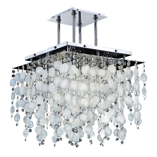 Cityscape Capiz Shell and Crystal Chrome 18-Inch Five-Light Chandelier