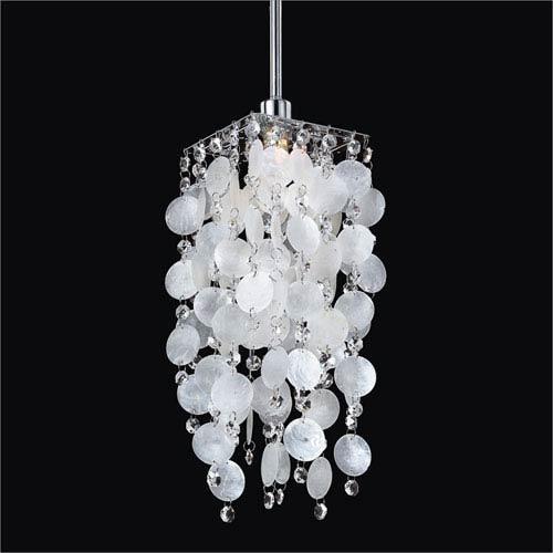 Cityscape White Shell and Crystal One-Light Mini Pendant