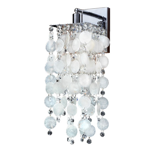 Cityscape Capiz Shell and Crystal Chrome One-Light Wall Sconce